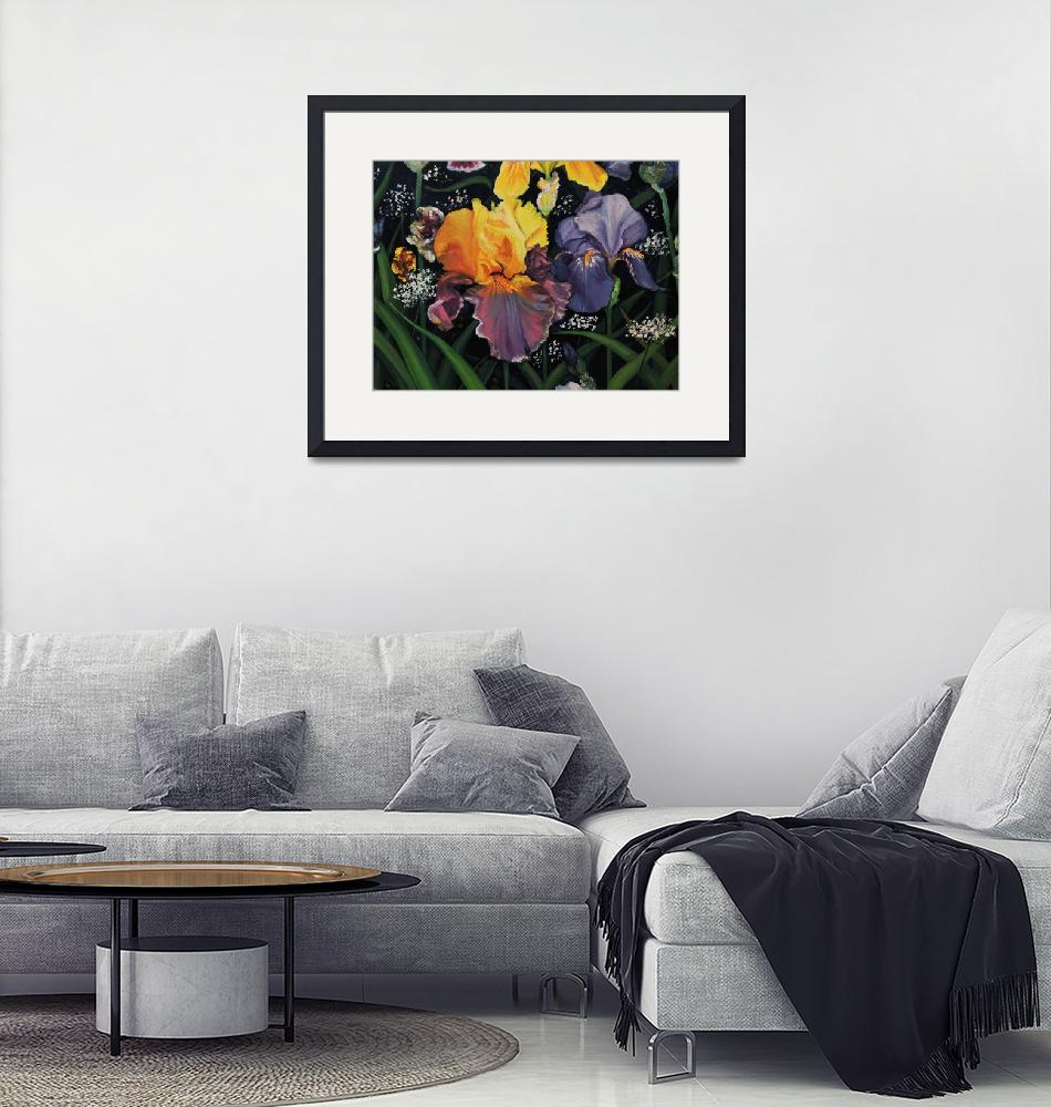 """""""Yellow and Blue Iris""""  (2019) by DebsFineArt"""