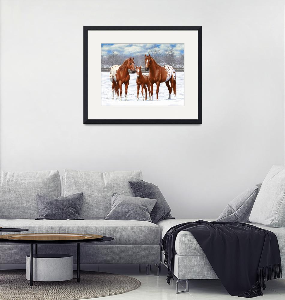 """""""Chestnut Appaloosa Horses In Snow""""  (2017) by csforest"""