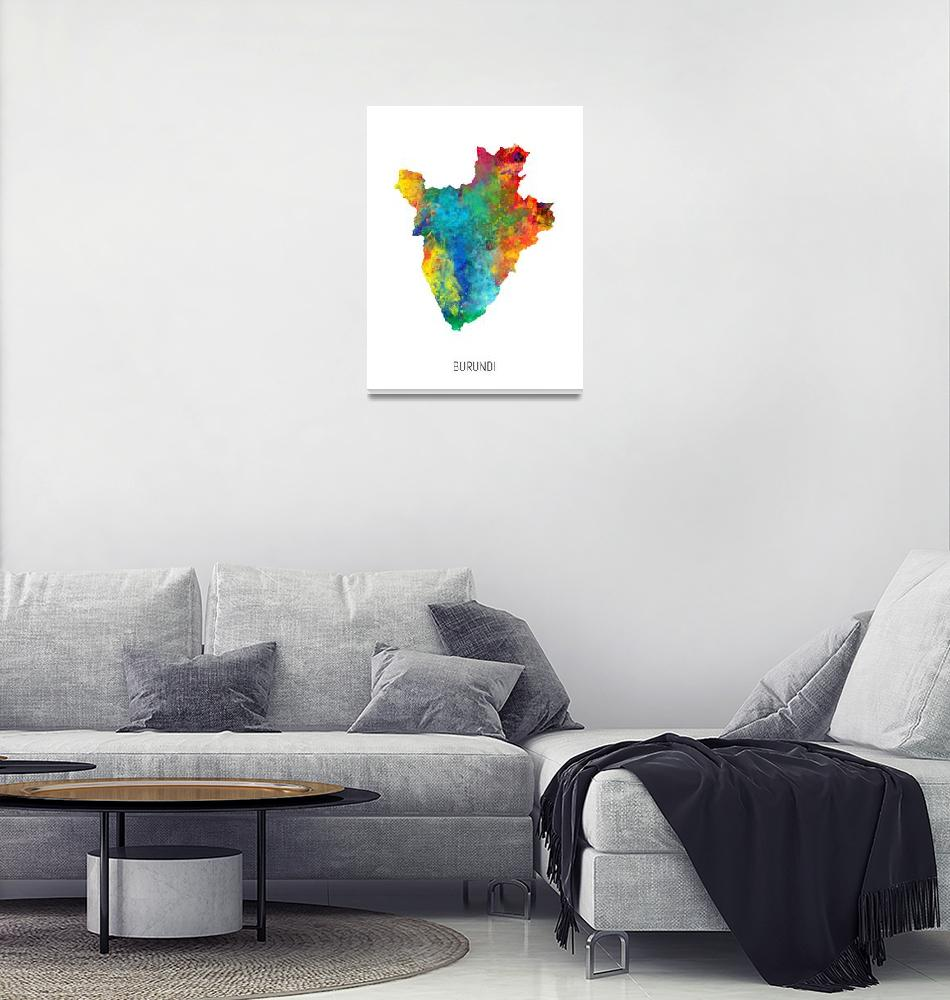 """Burundi Watercolor Map""  (2019) by ModernArtPrints"