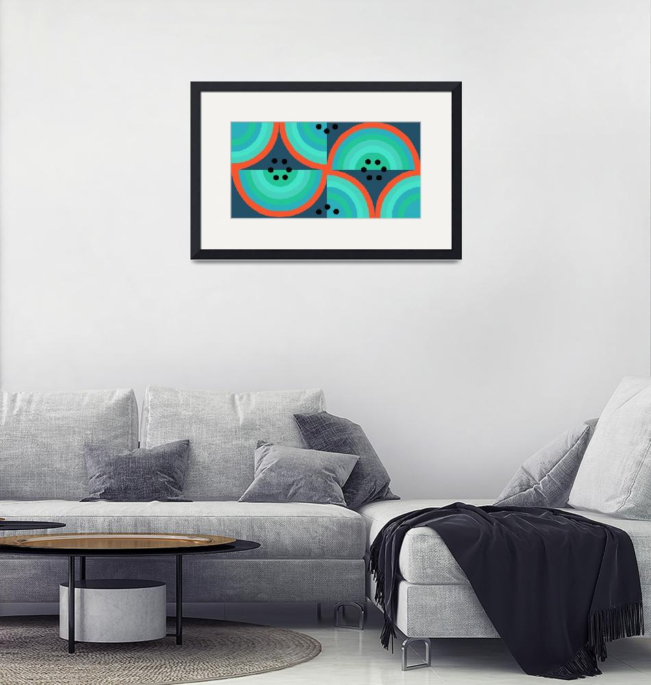 """""""Circles black turquoise coral single""""  (2008) by LeslieTillmann"""