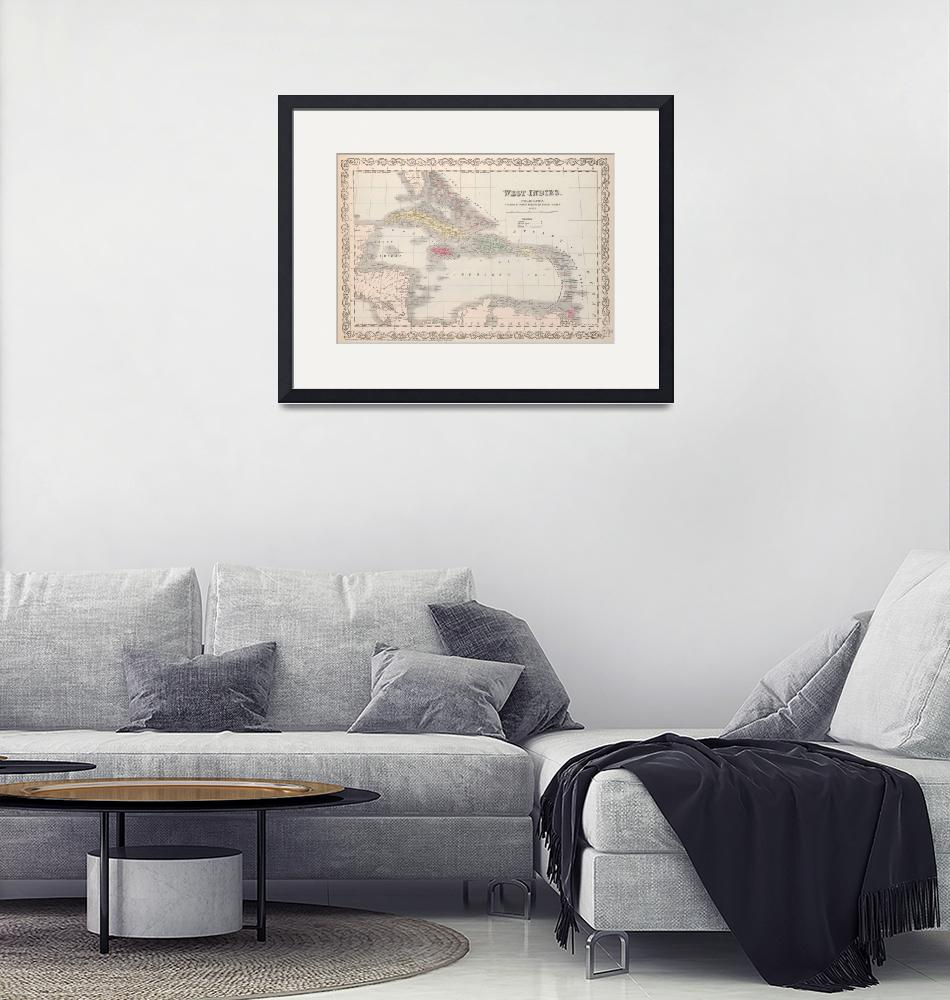 """""""Vintage Map of The Caribbean (1857)""""  by Alleycatshirts"""