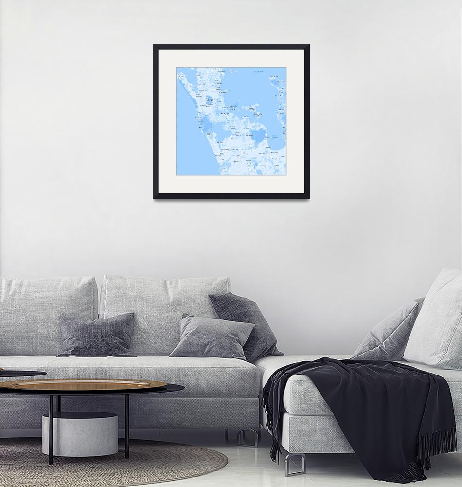 """""""Minimalist Modern Map of Acukland, New Zealand 2""""  by motionage"""