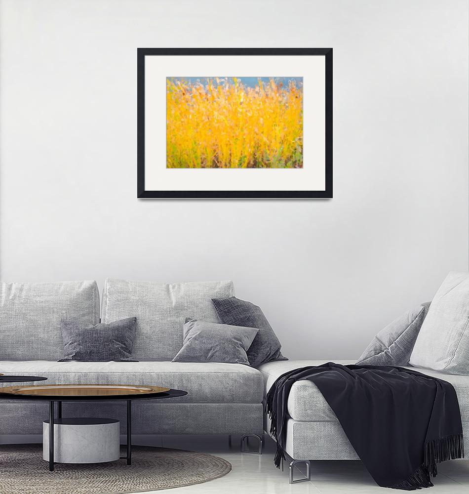 """Abstract Colorful Cattails Grasses Painting""  (2018) by lightningman"