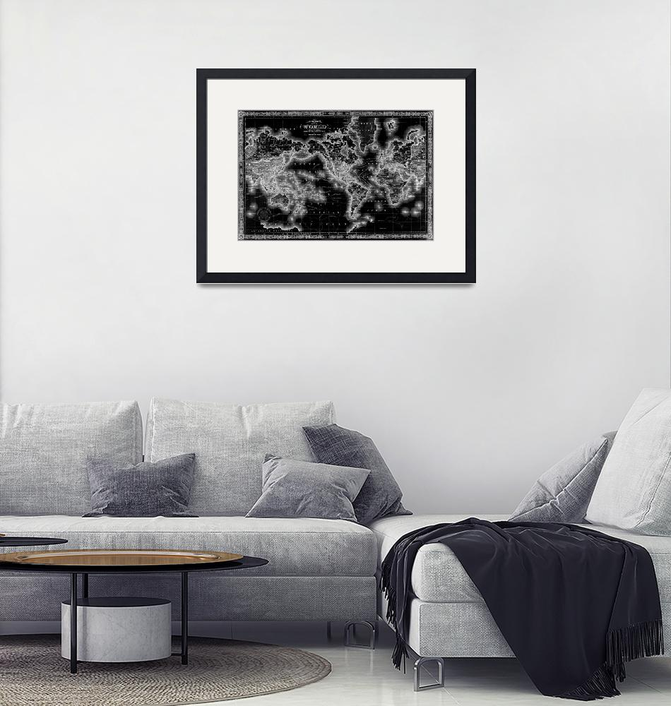 """""""Black and White World Map (1864) Inverse""""  by Alleycatshirts"""