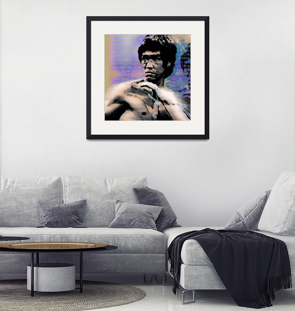"""""""Bruce Lee and Quotes Square""""  (2013) by RubinoFineArt"""