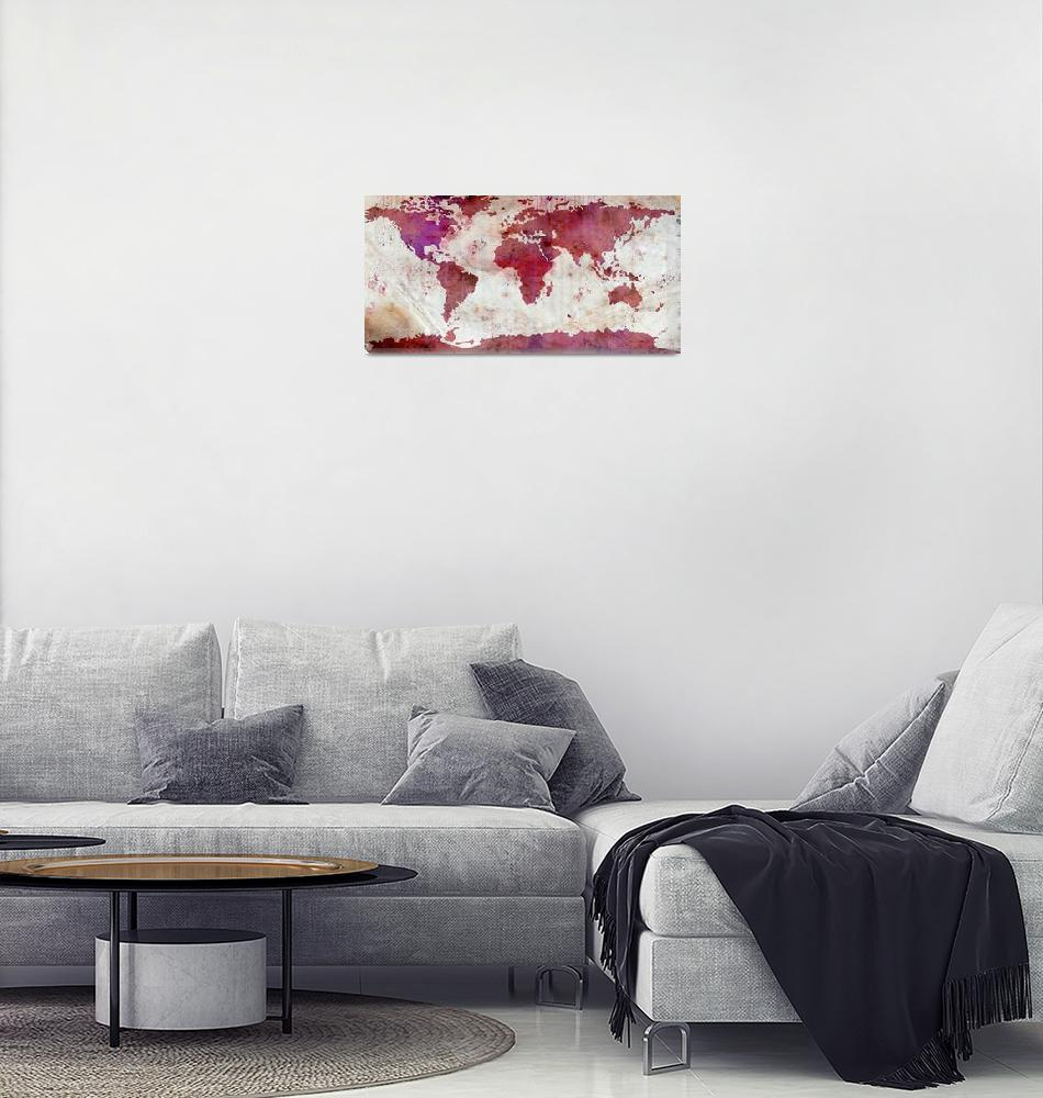 """""""World Map Watercolor-5""""  by WrightFineArt"""