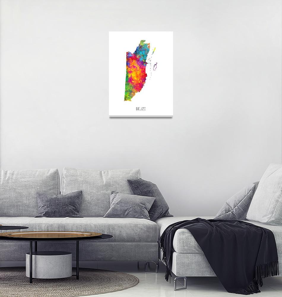 """Belize Watercolor Map""  (2019) by ModernArtPrints"