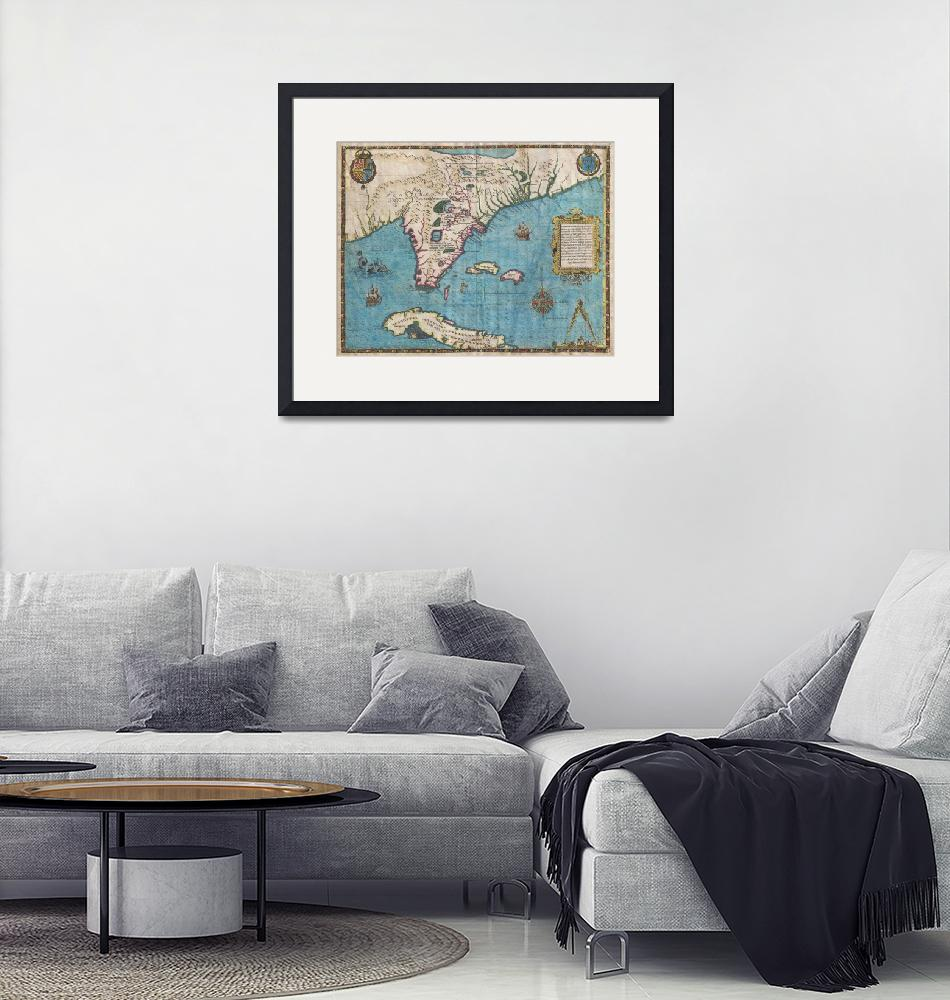 """Map of Florida and Cuba by De Bry & Le Moyne""  by FineArtClassics"