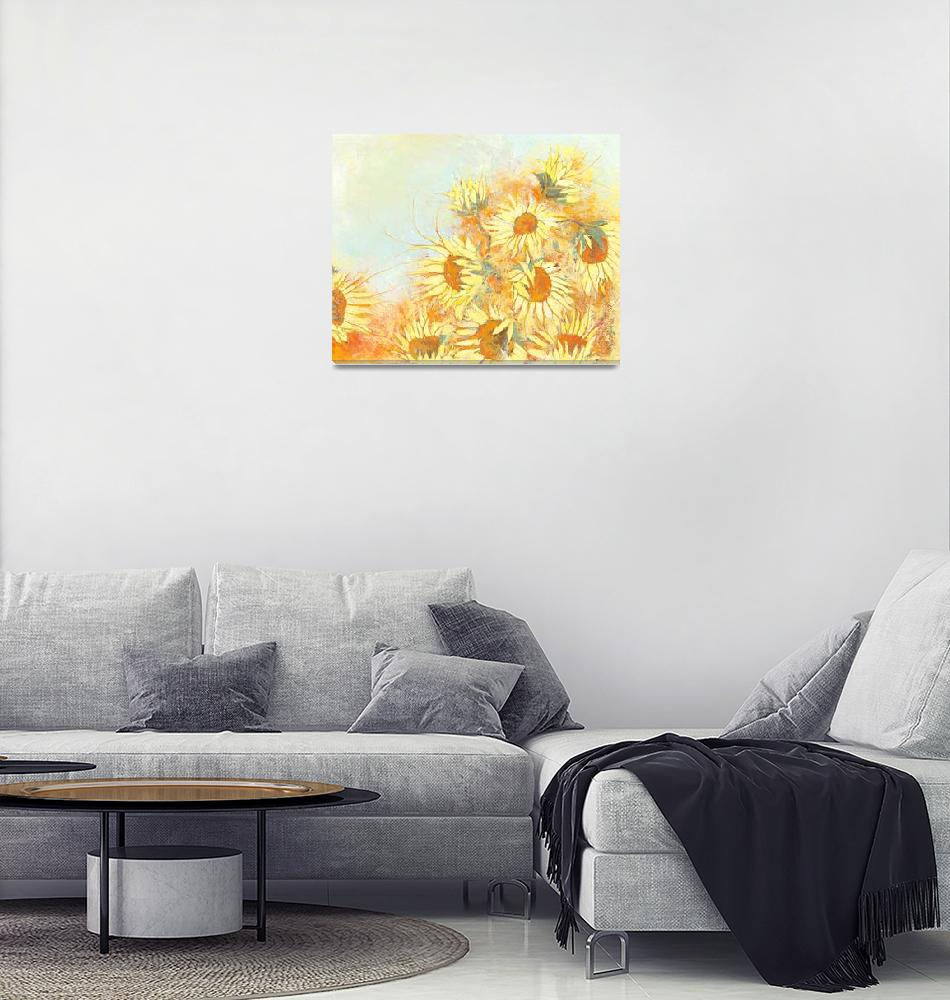 """""""Autumn Sunflowers""""  (2014) by Priscillajo"""