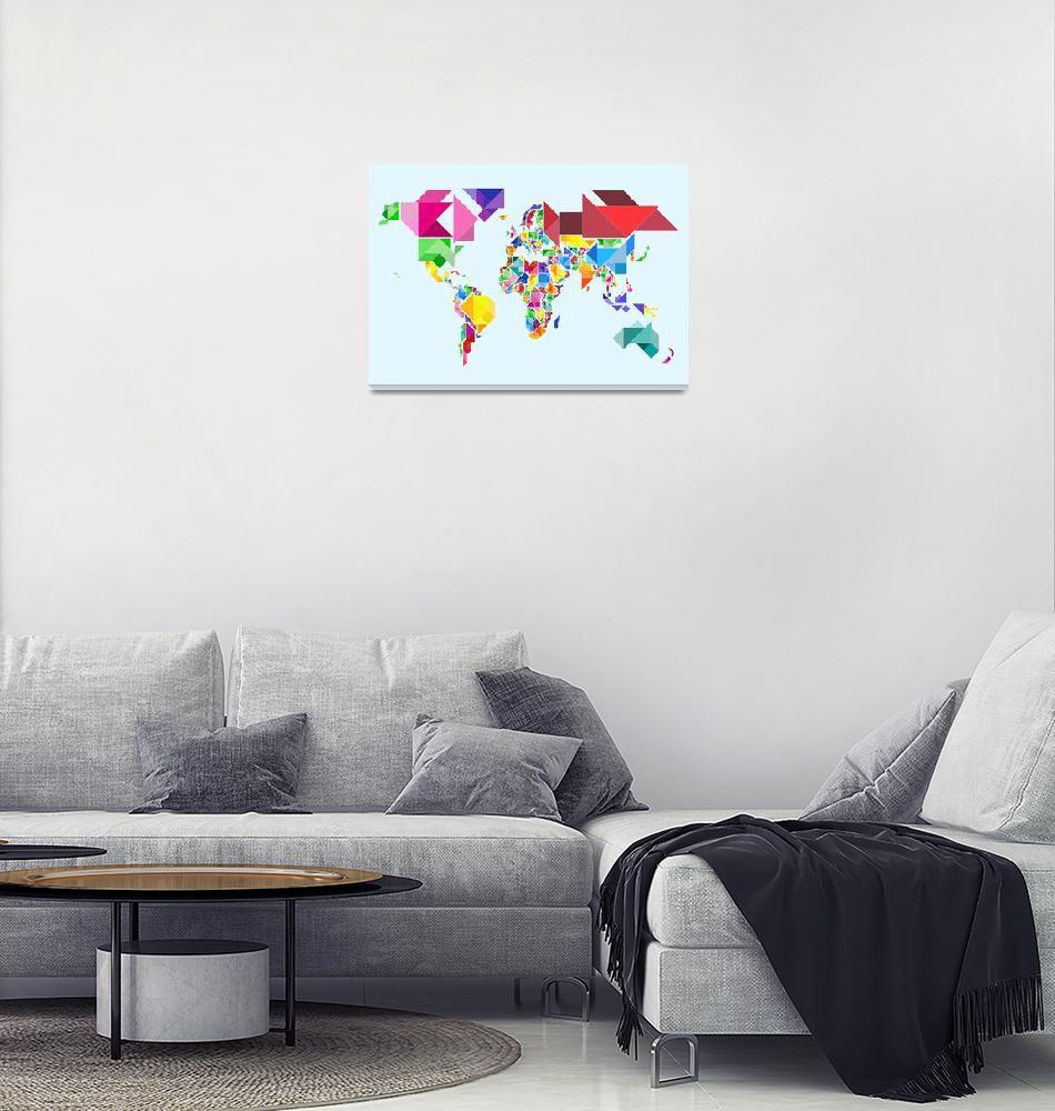 """""""Tangram Abstract World Map""""  (2011) by ModernArtPrints"""
