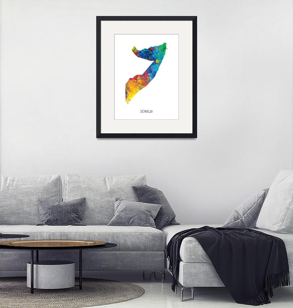 """Somalia Watercolor Map""  (2019) by ModernArtPrints"