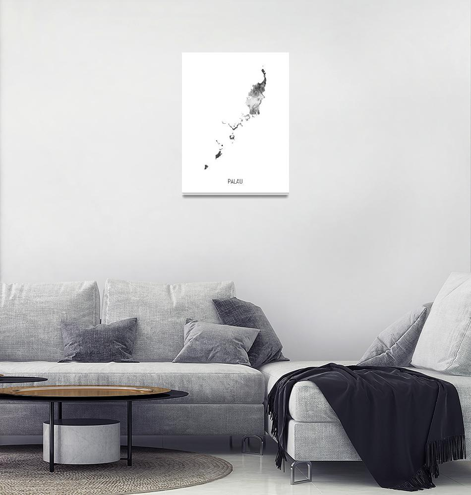"""Palau Watercolor Map""  (2019) by ModernArtPrints"
