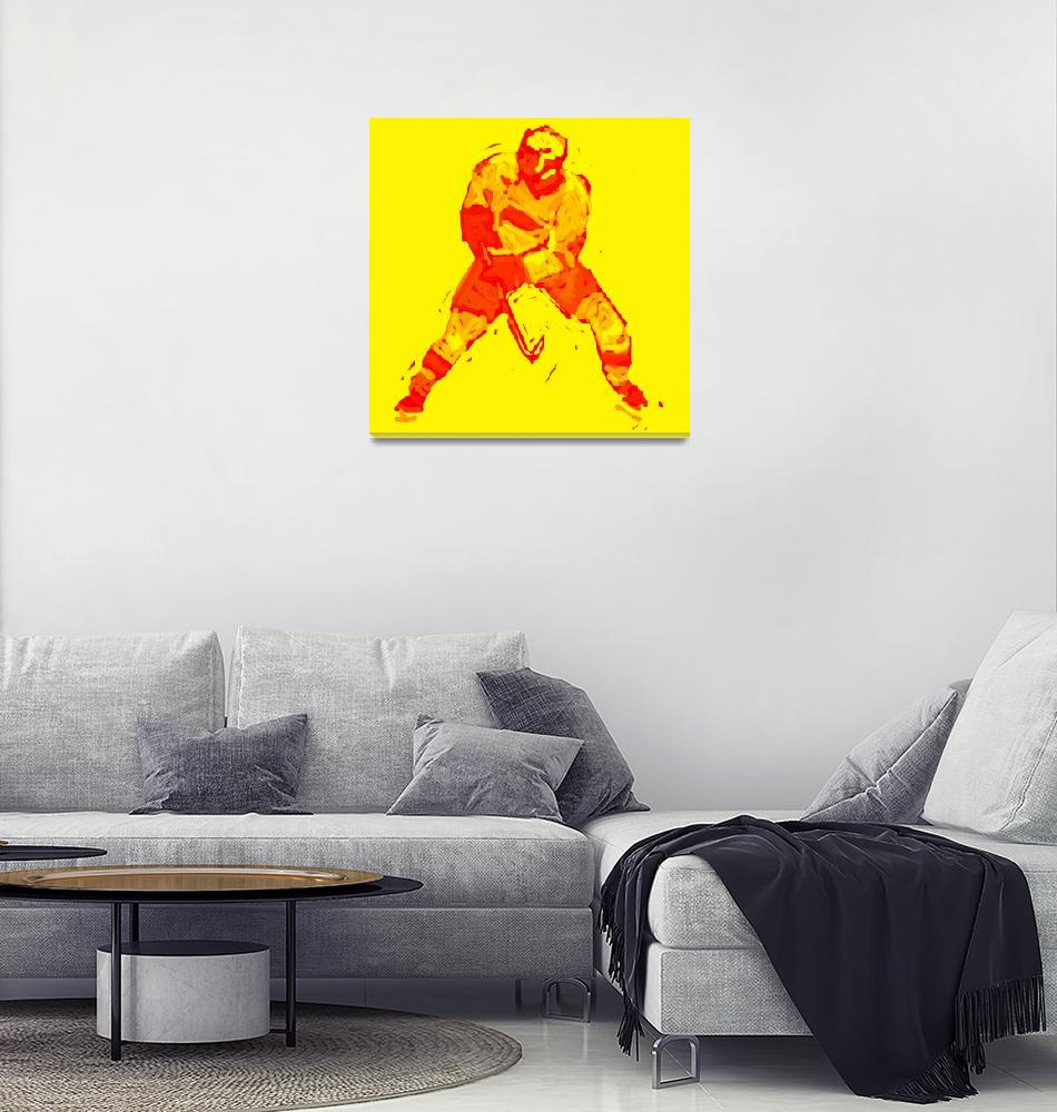 """Hockey Defenseman yellow red (c)""  (2014) by edmarion"