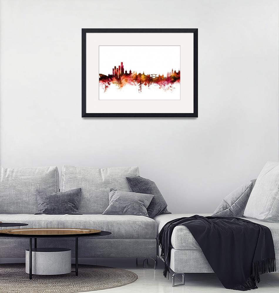 """Amsterdam The Netherlands Skyline""  (2018) by ModernArtPrints"