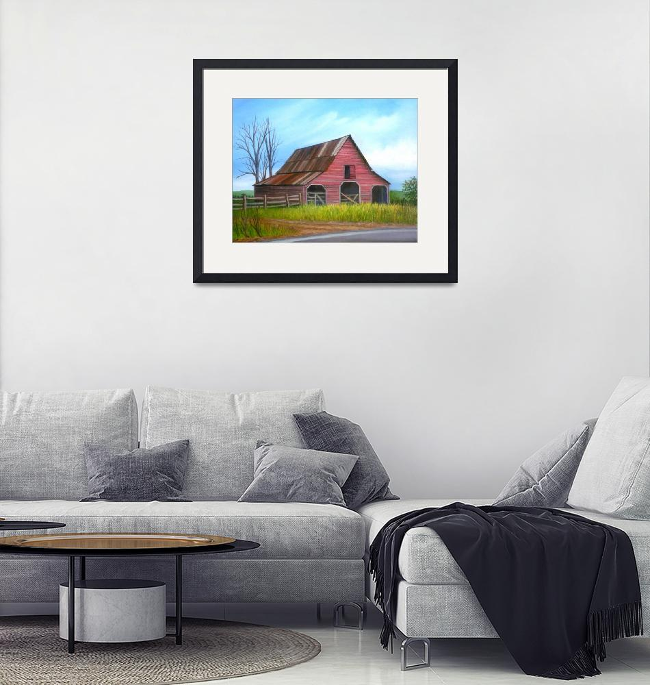 """""""Red Barn in Forsyth County, Georgia""""  (2012) by vivianeagleson"""