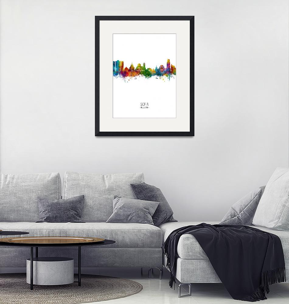 """Sofia Bulgaria Skyline""  (2019) by ModernArtPrints"