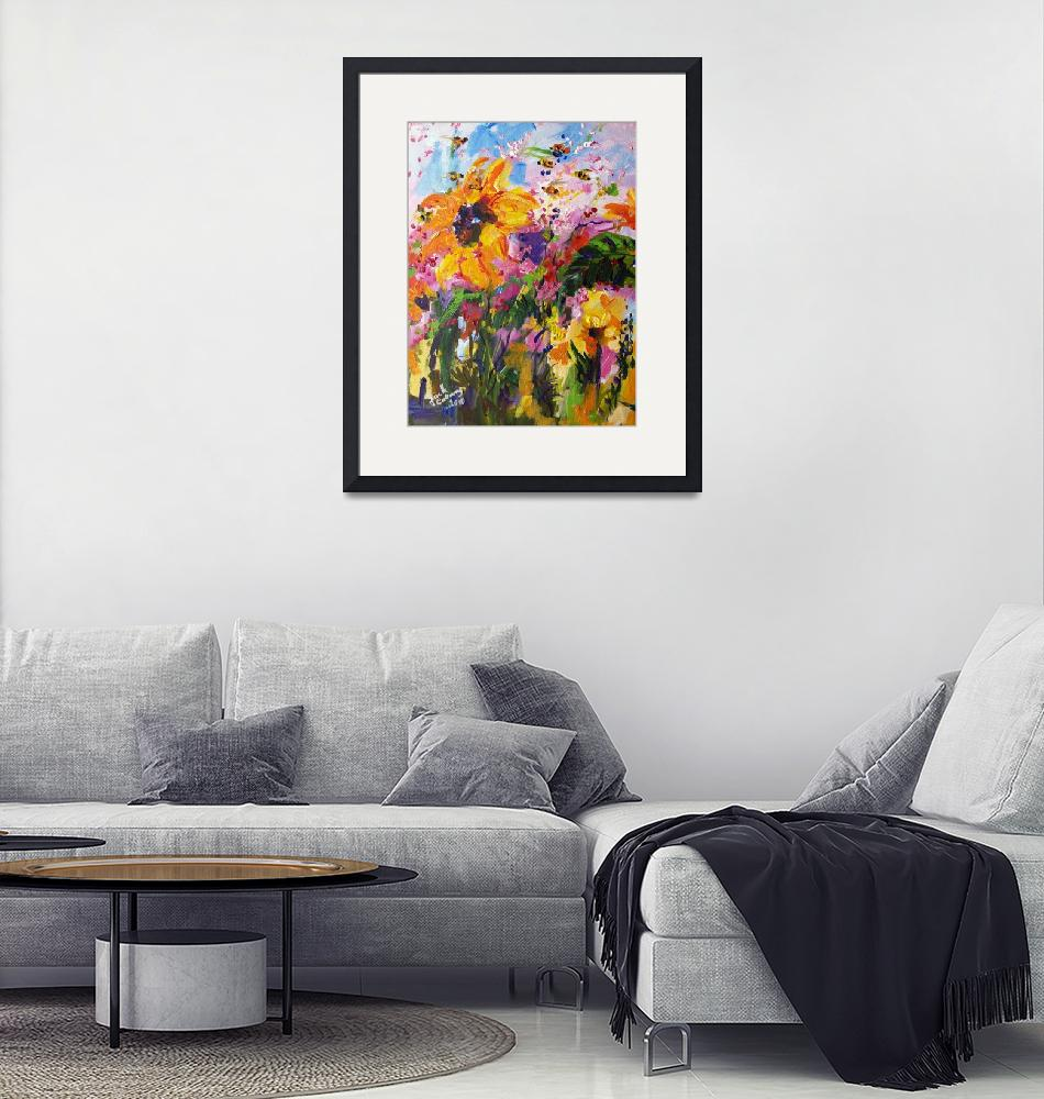 """""""Sunflowers & Bees Original Painting by Ginette""""  (2010) by GinetteCallaway"""