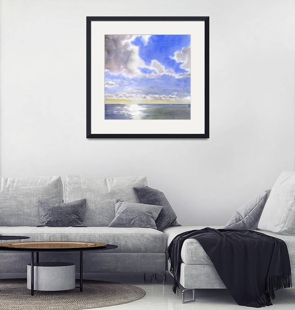 """""""Cloudy Sky with Ocean""""  by Pacific-NW-Watercolors"""