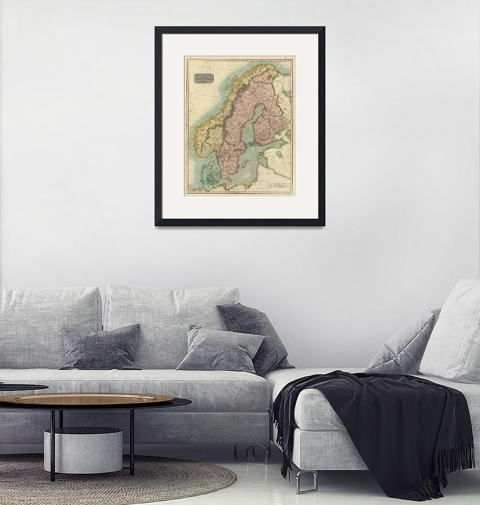 """Vintage Map of Norway and Sweden (1817)""  by Alleycatshirts"