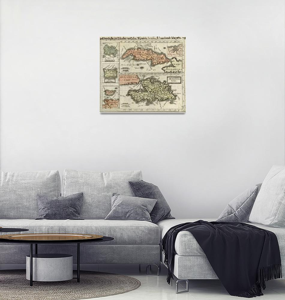 """""""Vintage Map of The Caribbean Islands (1630)""""  by Alleycatshirts"""