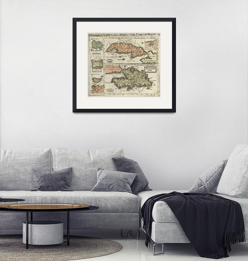 """Vintage Map of The Caribbean Islands (1630)""  by Alleycatshirts"