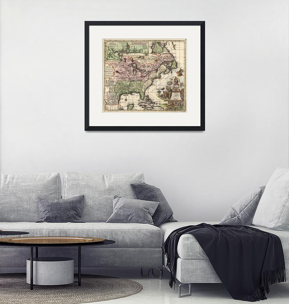 """""""Vintage Map of America (1720)""""  by Alleycatshirts"""