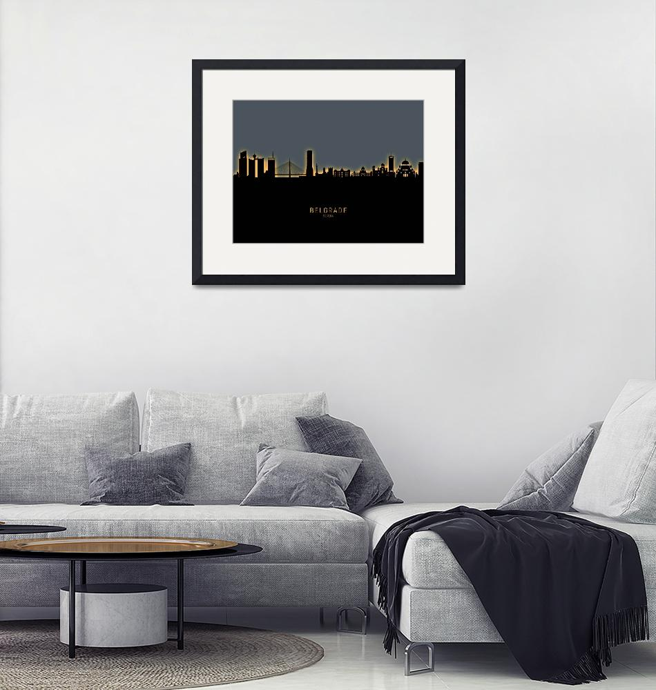 """Belgrade Serbia Skyline""  (2020) by ModernArtPrints"