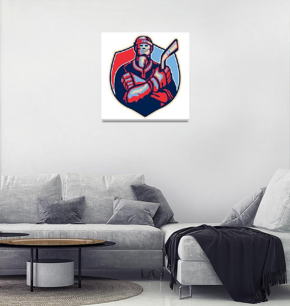 """Ice Hockey Player Front With Stick Retro""  (2013) by patrimonio"