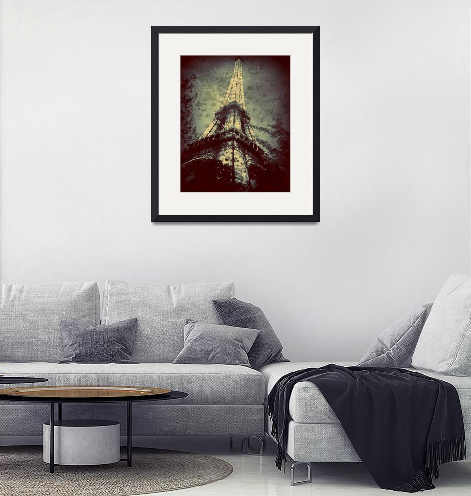 """""""Eiffel Tower,Tinted Blue and Distressed""""  by Linde"""