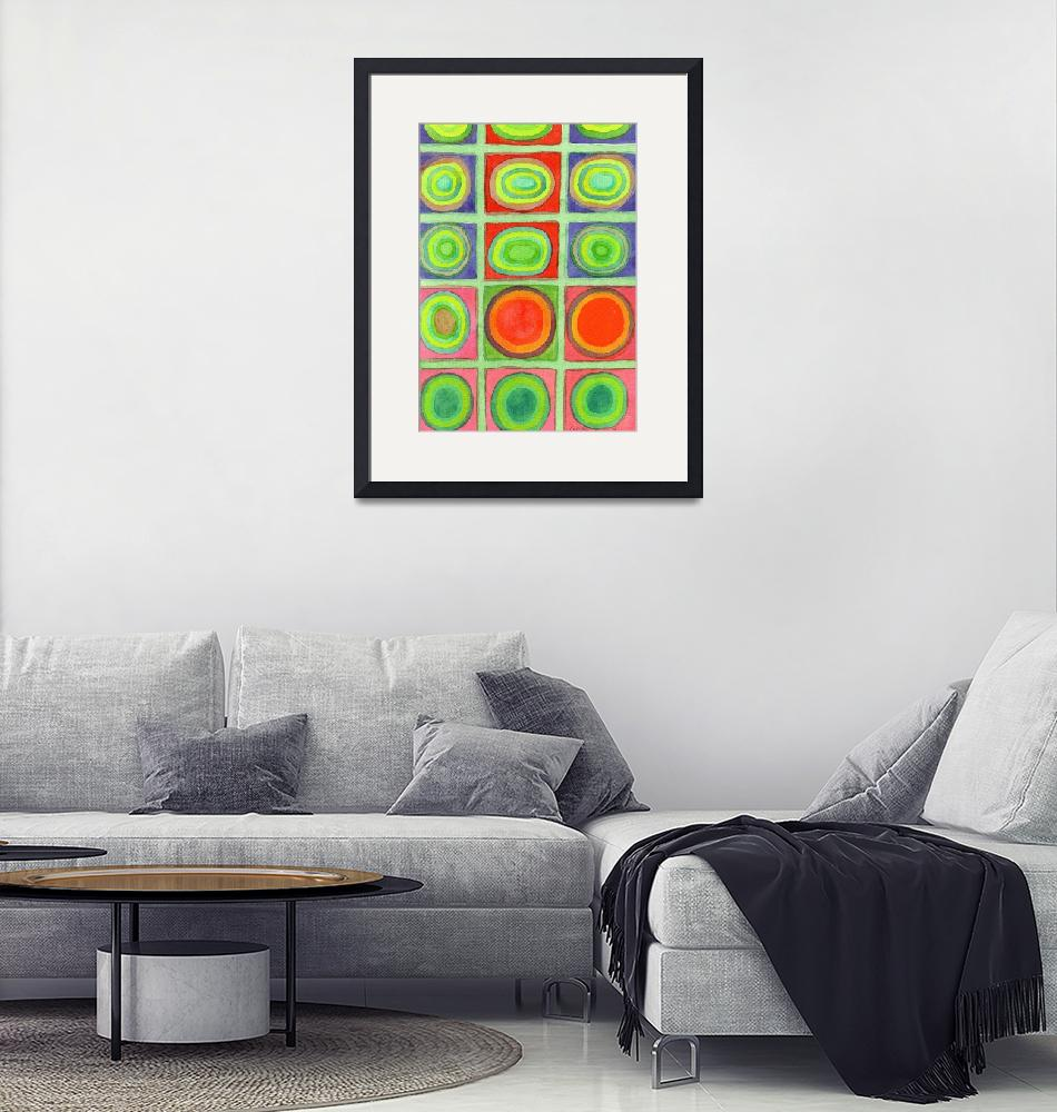 """""""Green Grid filled with Circles and intense Colors""""  (2014) by HeidiCapitaine"""