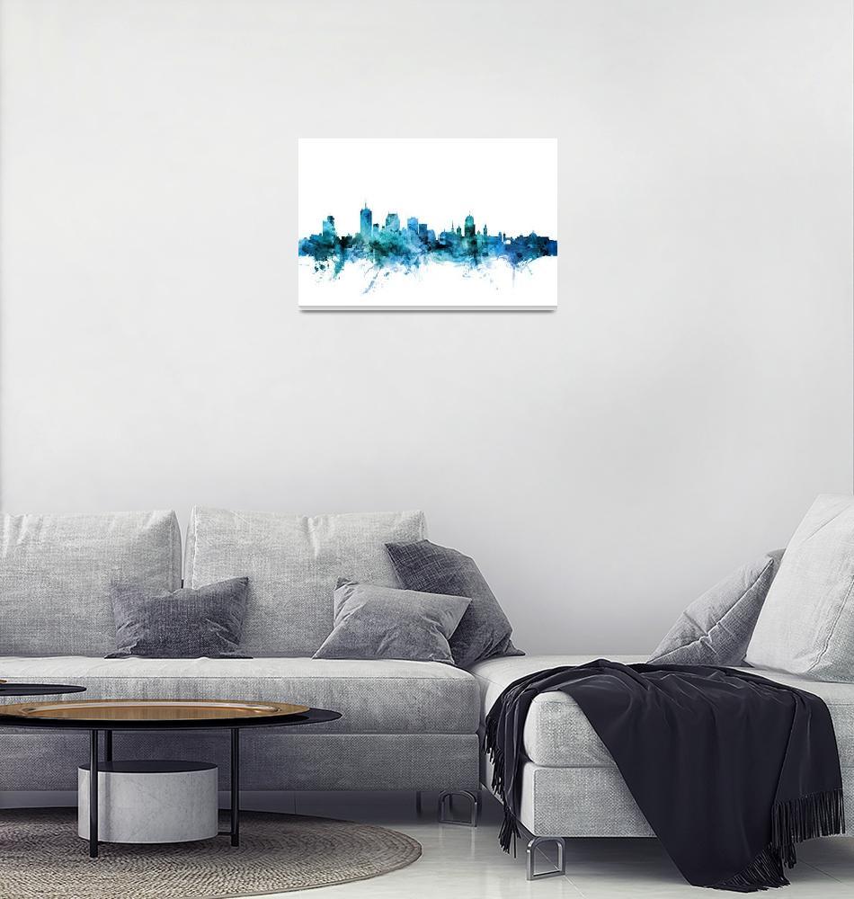 """Quebec Canada Skyline""  (2018) by ModernArtPrints"