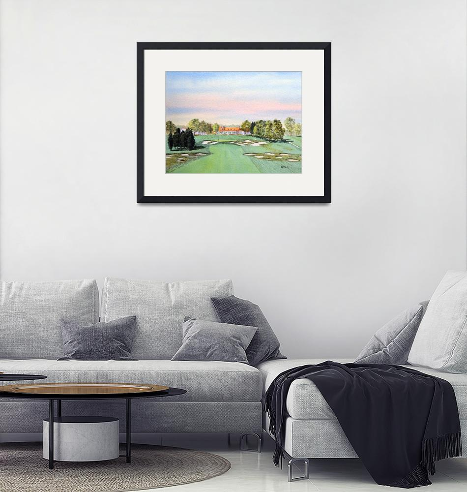 """""""Bethpage Golf Course 18th Hole Painting""""  (2015) by billholkham"""