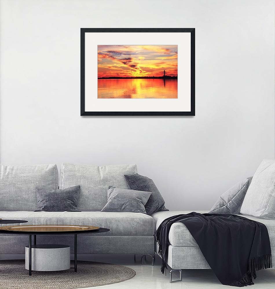 """""""Sunset Reflection, Provincetown Harbor Cape Cod""""  (2010) by RoupenBaker"""