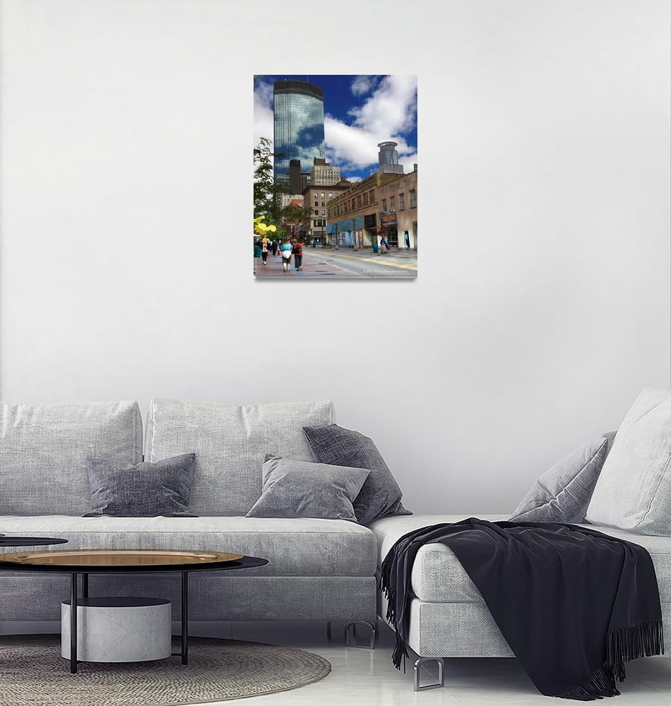 """Minneapolis Skyline Photography Nicollet Mall""  (2010) by WaynePhotoGuy"