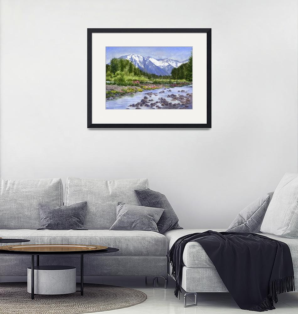 """""""Inlet View Glacier Creek""""  (2017) by Pacific-NW-Watercolors"""