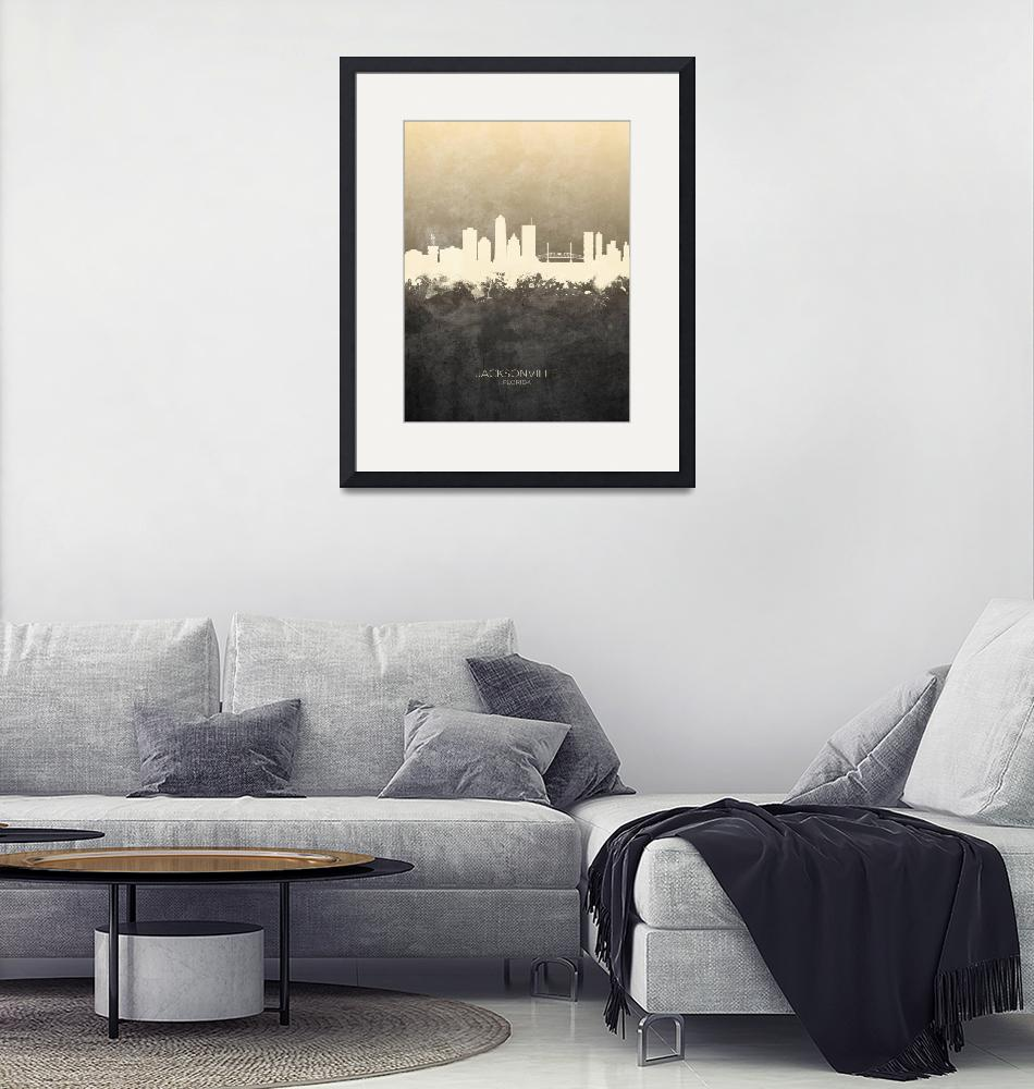 """Jacksonville Florida Skyline""  (2019) by ModernArtPrints"