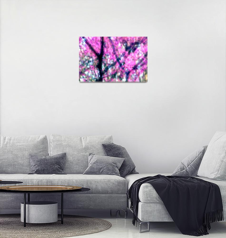 """Spring Redbuds Abstract""  (2015) by KsWorldArt"