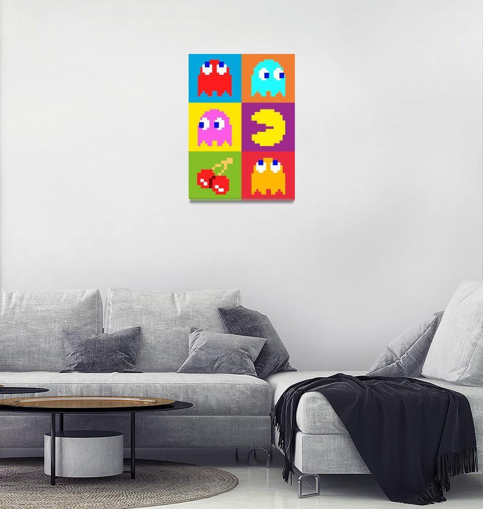 """PacMan Squares""  (2010) by ModernArtPrints"