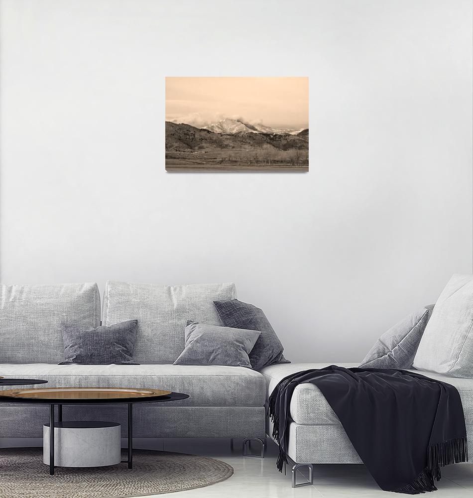 """December 16th Twin Peak Sunrise Sepia View""  (2013) by lightningman"