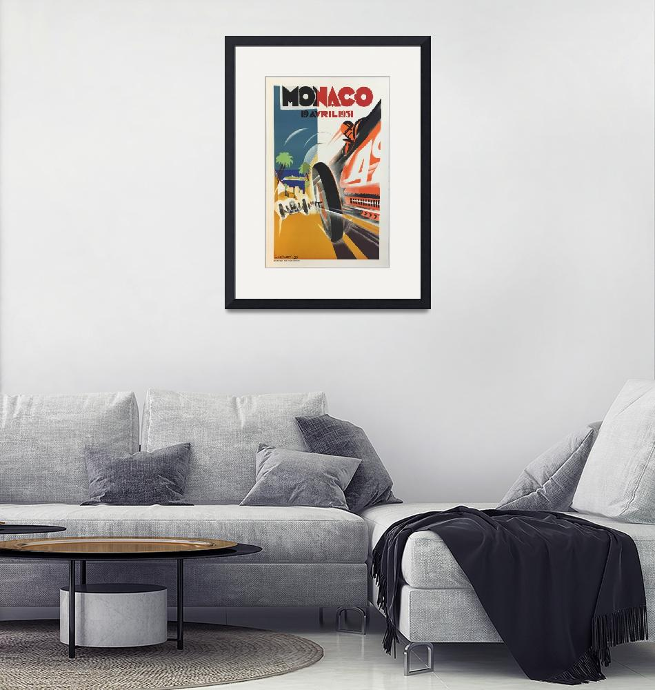 """Monaco Vintage Poster""  by FineArtClassics"