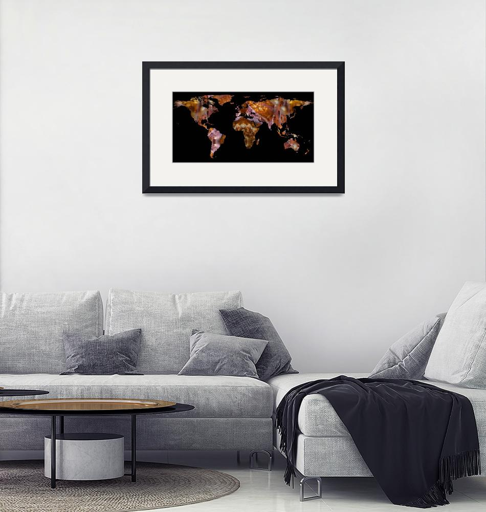 """""""World Map Silhouette - Eel Photographic Mandala""""  by Alleycatshirts"""