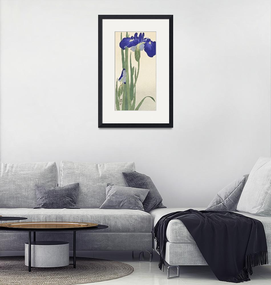 """Blue Irises by Ohara Koson""  by FineArtClassics"
