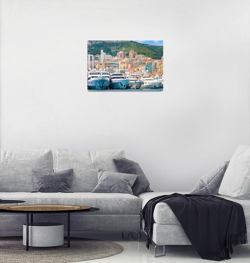 """""""The port of Monaco during a Grand Prix competition""""  (2019) by MichielTon"""