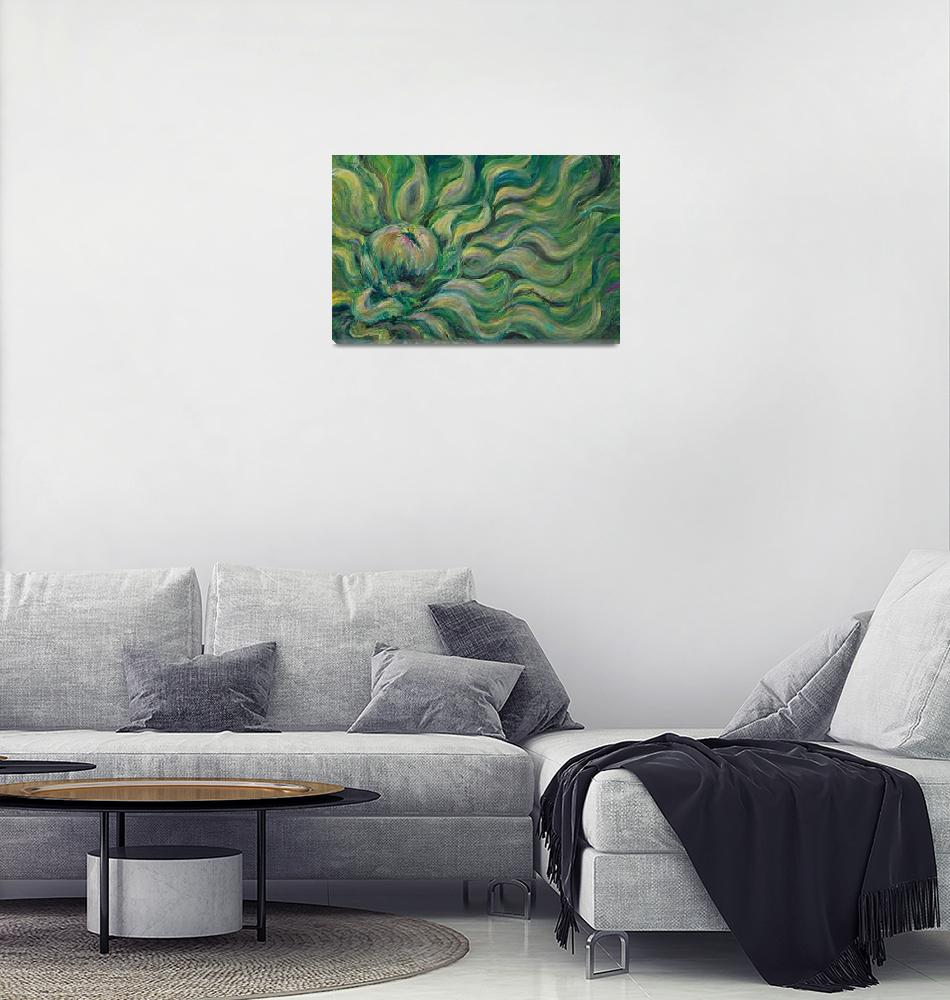 """""""Green Flowing Flower""""  (2008) by nadinerippelmeyer"""