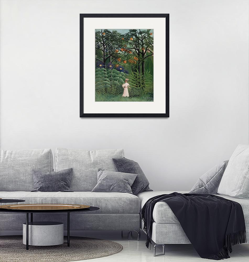 """""""Woman Walking in an Exotic Forest by Rousseau""""  by FineArtClassics"""