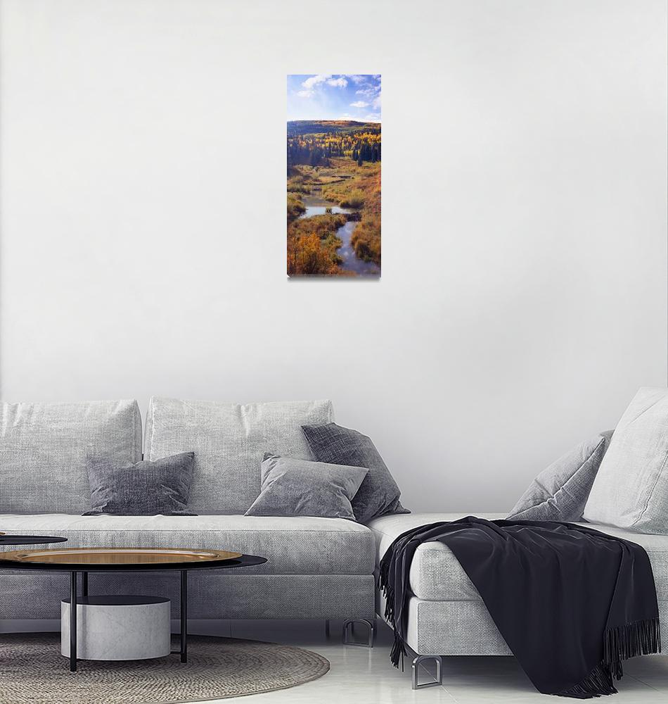 """""""Misty Pond Vertical Panoramic""""  (2006) by FallingSilver"""