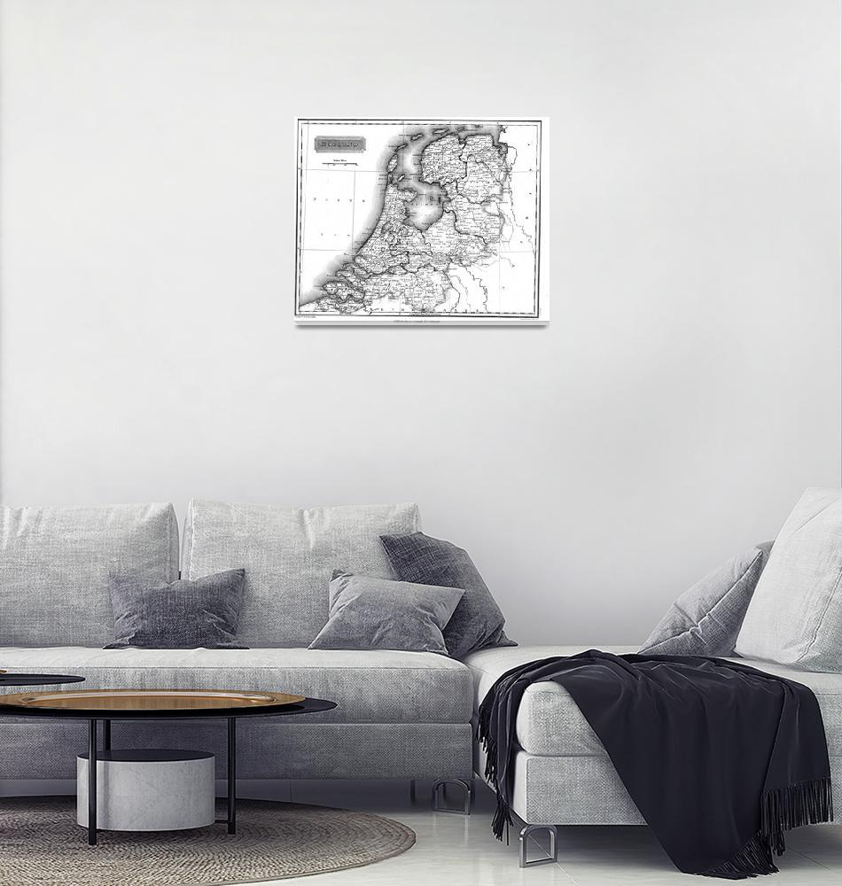 """Vintage Map of Holland (1817) BW""  by Alleycatshirts"