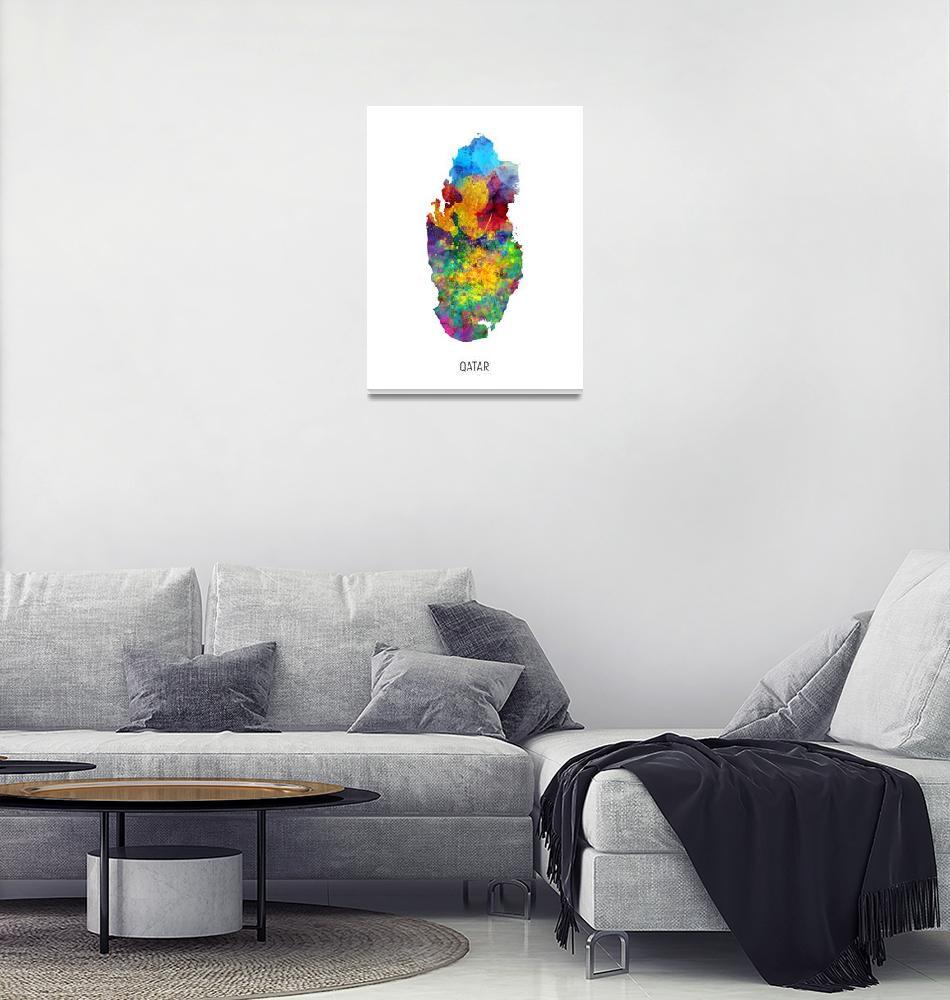 """""""Qatar Watercolor Map""""  (2019) by ModernArtPrints"""