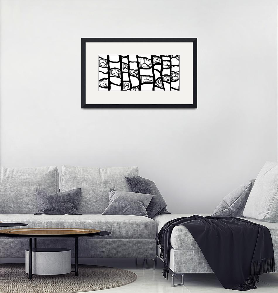 """""""Black and White Abstract Pattern""""  (2006) by Lenora"""