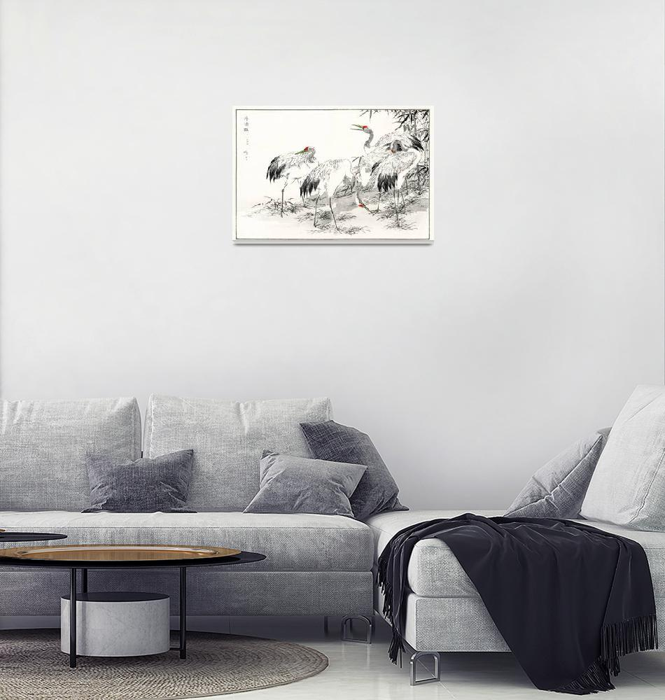 """Japanese Crane and Bamboo by Numata Kashu""  by FineArtClassics"